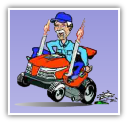 man on lawn mower